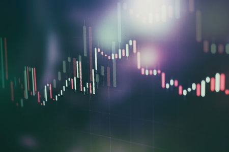 Abstract glowing forex chart interface wallpaper. Investment, trade, stock, finance and analysis concept. Standard-Bild - 122145912