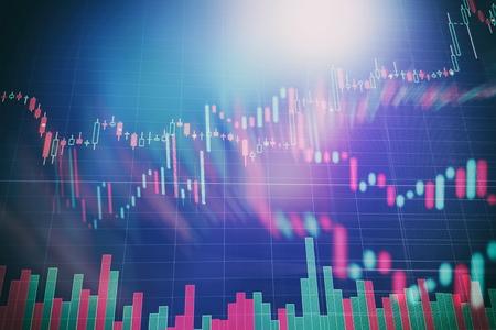 Carta da parati astratta dell'interfaccia del grafico forex incandescente. Concetto di investimento, commercio, stock, finanza e analisi. Archivio Fotografico