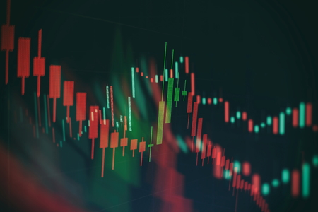 Abstract glowing forex chart interface wallpaper. Investment, trade, stock, finance and analysis concept. Standard-Bild - 122146210
