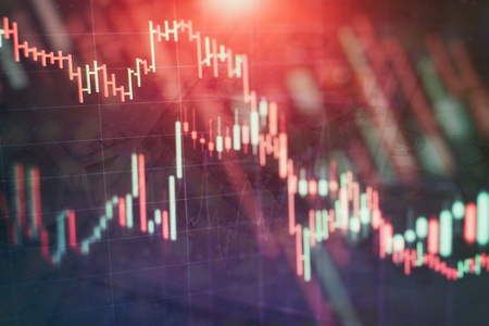 Abstract glowing forex chart interface wallpaper. Investment, trade, stock, finance and analysis concept. Standard-Bild - 122146133