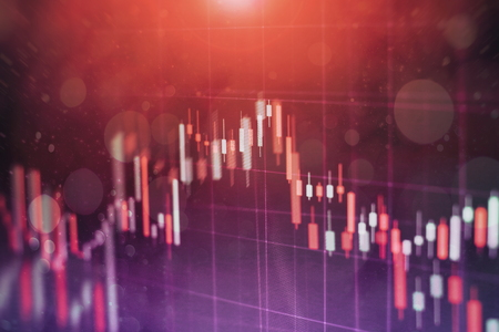 Abstract glowing forex chart interface wallpaper. Investment, trade, stock, finance and analysis concept. Standard-Bild - 122146212