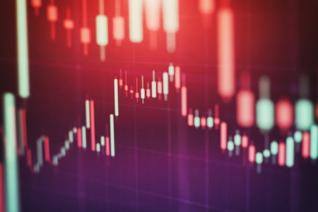 Abstract glowing forex chart interface wallpaper. Investment, trade, stock, finance and analysis concept. Standard-Bild - 122146213