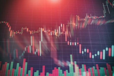 Abstract glowing forex chart interface wallpaper. Investment, trade, stock, finance and analysis concept.