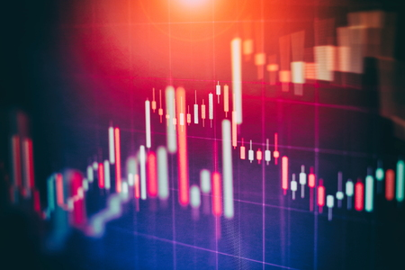 Abstract glowing forex chart interface wallpaper. Investment, trade, stock, finance and analysis concept. Standard-Bild - 122146218
