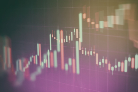 Abstract glowing forex chart interface wallpaper. Investment, trade, stock, finance and analysis concept. Standard-Bild - 122146228