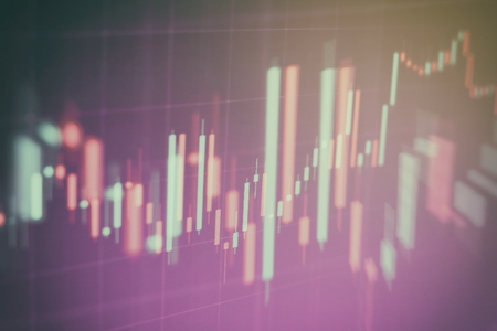 Abstract glowing forex chart interface wallpaper. Investment, trade, stock, finance and analysis concept. Standard-Bild - 122158286