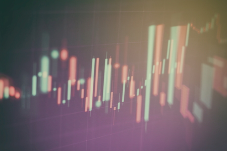 Abstract glowing forex chart interface wallpaper. Investment, trade, stock, finance and analysis concept. Standard-Bild - 122158294