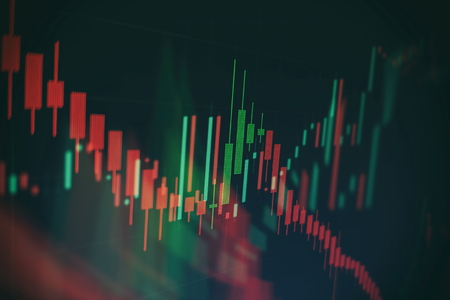 Abstract glowing forex chart interface wallpaper. Investment, trade, stock, finance and analysis concept. Standard-Bild - 122158296