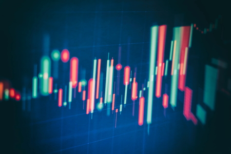 Abstract glowing forex chart interface wallpaper. Investment, trade, stock, finance and analysis concept. Standard-Bild - 122158292