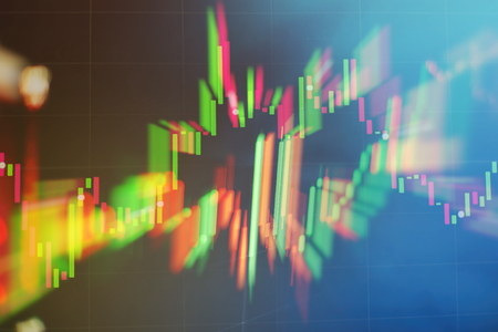 Abstract glowing forex chart interface wallpaper. Investment, trade, stock, finance and analysis concept. Standard-Bild - 122158510