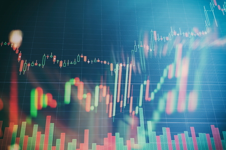 Abstract glowing forex chart interface wallpaper. Investment, trade, stock, finance and analysis concept. Standard-Bild - 122158511