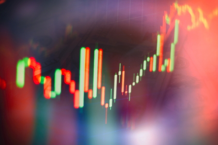 Abstract glowing forex chart interface wallpaper. Investment, trade, stock, finance and analysis concept. Standard-Bild - 122158515