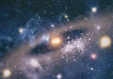 Fondo de galaxia con nebulosa, polvo de estrellas y estrellas brillantes. Foto de archivo