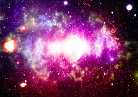 Star field and nebula in deep space many light years far from planet Earth. Stock Photo