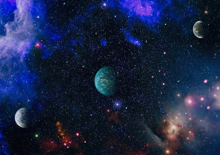 Far being shone nebula and star field against space.