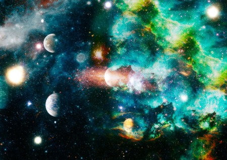 galaxy background with nebula, stardust and bright shining stars.
