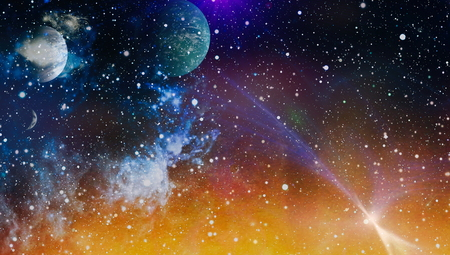 Colored nebula and open cluster of stars in the universe. Imagens