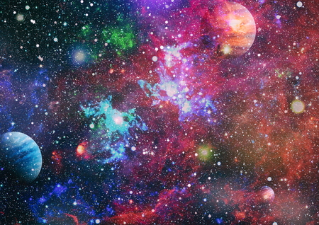 Colored nebula and open cluster of stars in the universe. 写真素材