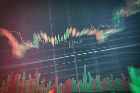 graph with diagrams on the stock market, for business and financial concepts and reports.Abstract blue background.