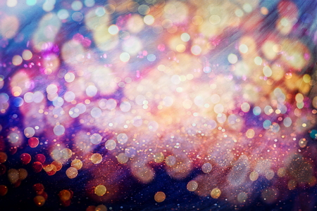 Blurred bokeh light background, Christmas and New Year holidays background Stock Photo