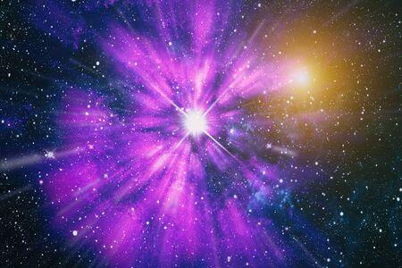 Nebulosa coloreada y cúmulo abierto de estrellas en el universo.