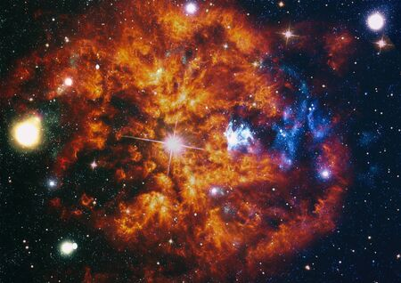 Giant glowing nebula. Space background with red nebula and stars.