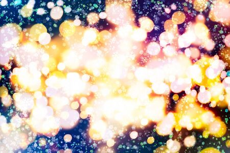 Abstract glitter lights and stars. Festive blue and white color sparkling vintage background
