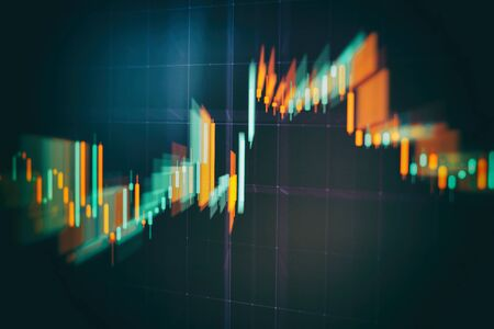Abstract financial trading graphs on monitor. Background with currency bars and candles Banco de Imagens