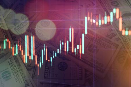 Abstract financial trading graphs on monitor. Background with currency bars and candles Imagens