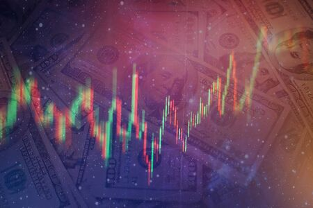 data on a monitor which including of Market Analyze. Bar graphs, Diagrams, financial figures. Forex chart.