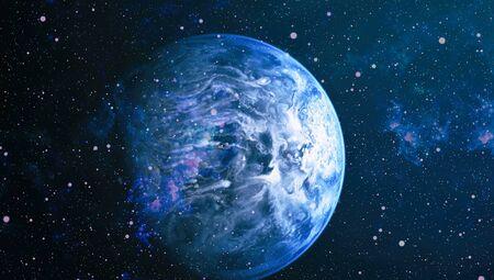Kosmische Nebelwolken auf leuchtend bunten Hintergründen. Standard-Bild