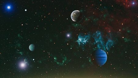 Cosmic clouds of mist on bright colorful backgrounds.