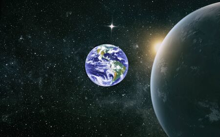 Beautiful Earth and the red Moon Stock Photo