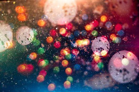 Festive lights bokeh background, Defocused bokeh lights, Blurred bokeh