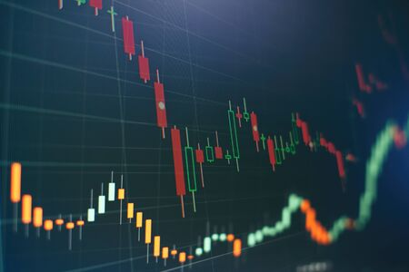 Economische grafiek met diagrammen op de aandelenmarkt, voor zakelijke en financiële concepten en rapporten.