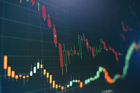 Gráfico económico con diagramas en el mercado de valores, para conceptos e informes comerciales y financieros.