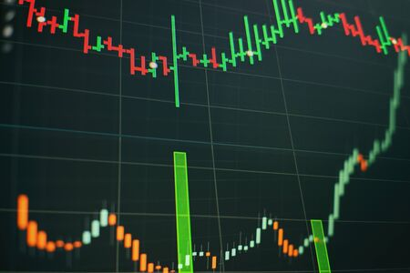 Economic graph with diagrams on the stock market, for business and financial concepts and reports.