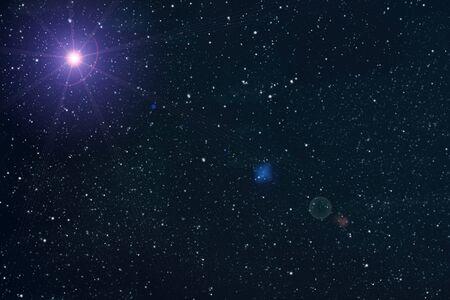 Beautiful night sky and many stars, galaxy background Imagens