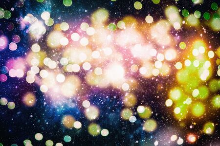 Bright light spots abstract bokeh blurred texture background Imagens