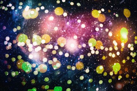 Bright light spots abstract bokeh blurred texture background Imagens - 132193148