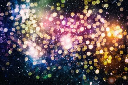 Bright light spots abstract bokeh blurred texture background Imagens - 132194057