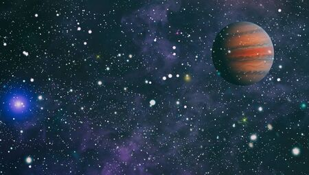 Star field and nebula in deep space many light years far from planet Earth. 版權商用圖片
