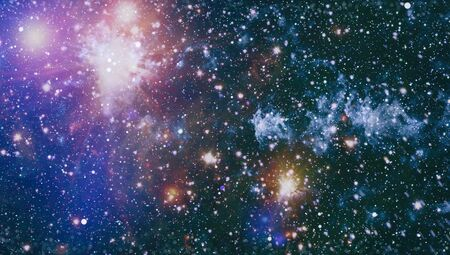 Sparkle shinny blue star particle motion on black background, starlight nebula in galaxy at universe Space background. 版權商用圖片