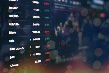 Aktienindex auf dem Computermonitor. Finanzdaten auf einem Monitor, der von Market Analyze umfasst. Balkendiagramme, Diagramme, Finanzzahlen.