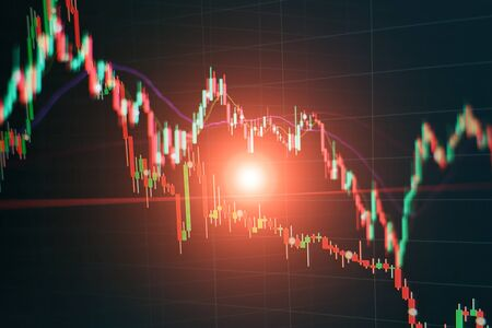 Abstract financial trading graphs on monitor. Background with currency bars and candles Фото со стока