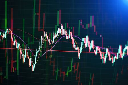 Abstract financial trading graphs on monitor. Background with currency bars and candles Фото со стока - 134689232
