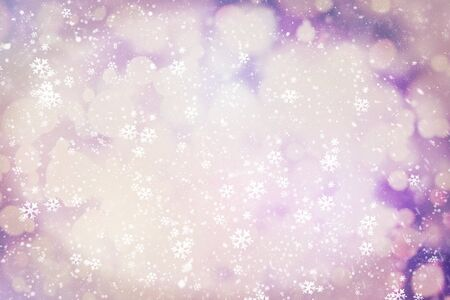 Sparse snowfall Christmas background. Subtle flying snow flakes and stars on background
