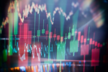 Bar graphs, Diagrams, financial figures. Forex chart. Candle stick graph chart of stock market investment trading. The Forex graph chart on the digital screen.