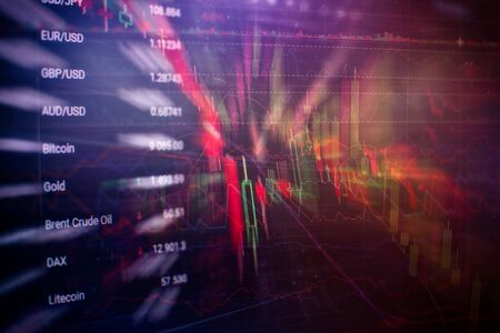 Abstract financial trading graphs on monitor. Background with currency bars and candles Stock fotó
