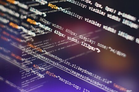 Programming source code HTML for Website development.